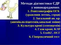 Методи діагностики СДР у новонароджених Рентгенографія ОГК (ураження легень, ...
