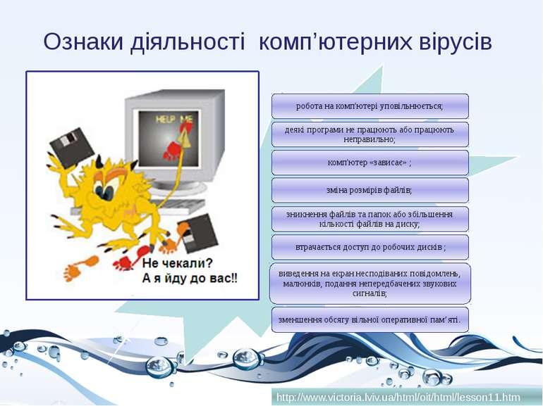 Ознаки діяльності комп'ютерних вірусів http://www.victoria.lviv.ua/html/oit/h...