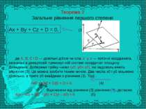Теорема 2 Загальне рівняння першого степеня Ax + By + Cz + D = 0, (3) де А, В...