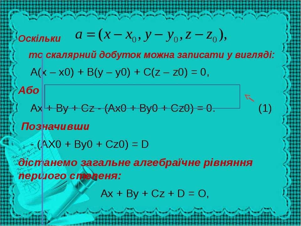 Оскільки то скалярний добуток можна записати у вигляді: А(х – х0) + В(у – у0)...