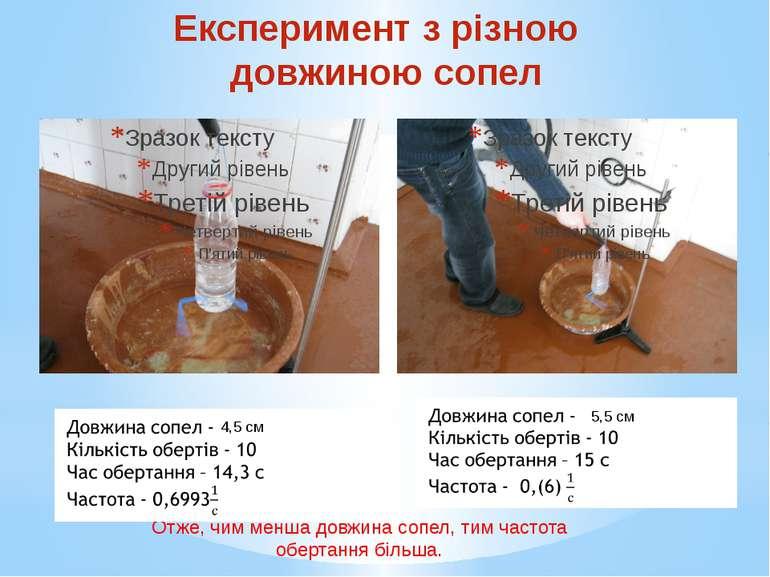 Експеримент з різною довжиною сопел