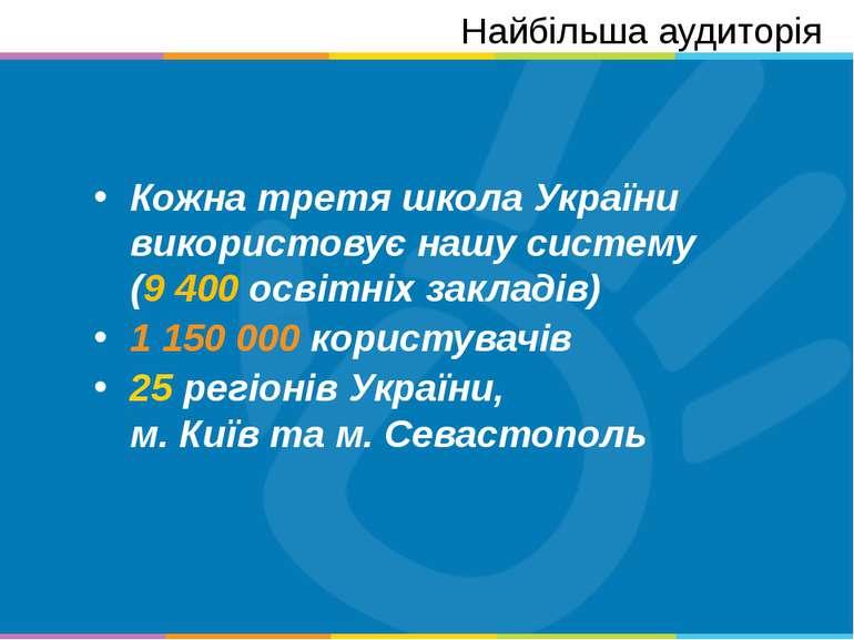 Кожна третя школа України використовує нашу систему (9 400 освітніх закладів)...
