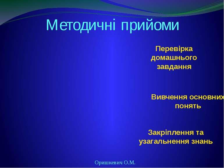 Методичні прийоми Оришкевич О.М. Перевірка домашнього завдання Вивчення основ...