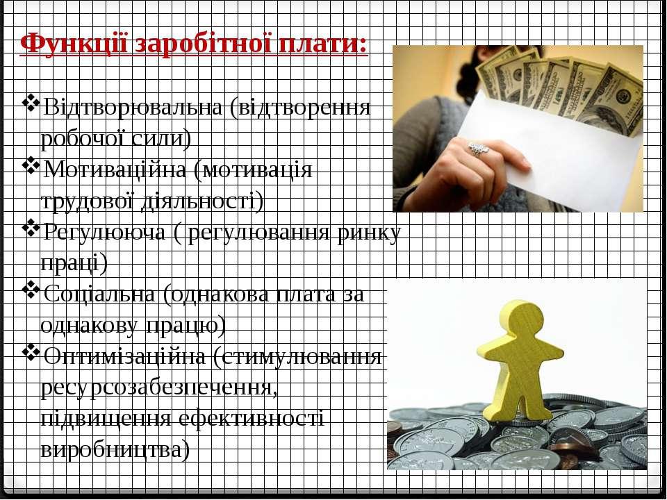 Функції заробітної плати: Відтворювальна (відтворення робочої сили) Мотивацій...