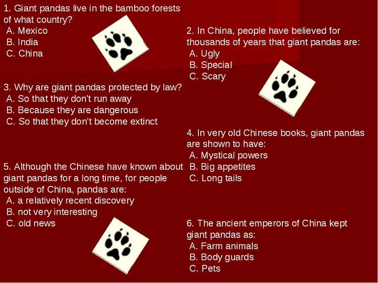 1. Giant pandas live in the bamboo forests of what country? A. Mexico B. Indi...