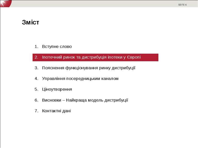 Вступне слово Іпотечний ринок та дистрибуція іпотеки у Європі Пояснення функц...