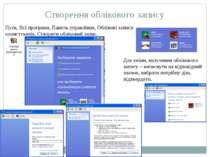 Створення облікового запису Пуск, Всі програми, Панель управління, Облікові з...