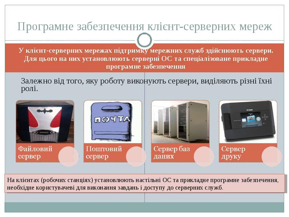 У клієнт-серверних мережах підтримку мережних служб здійснюють сервери. Для ц...