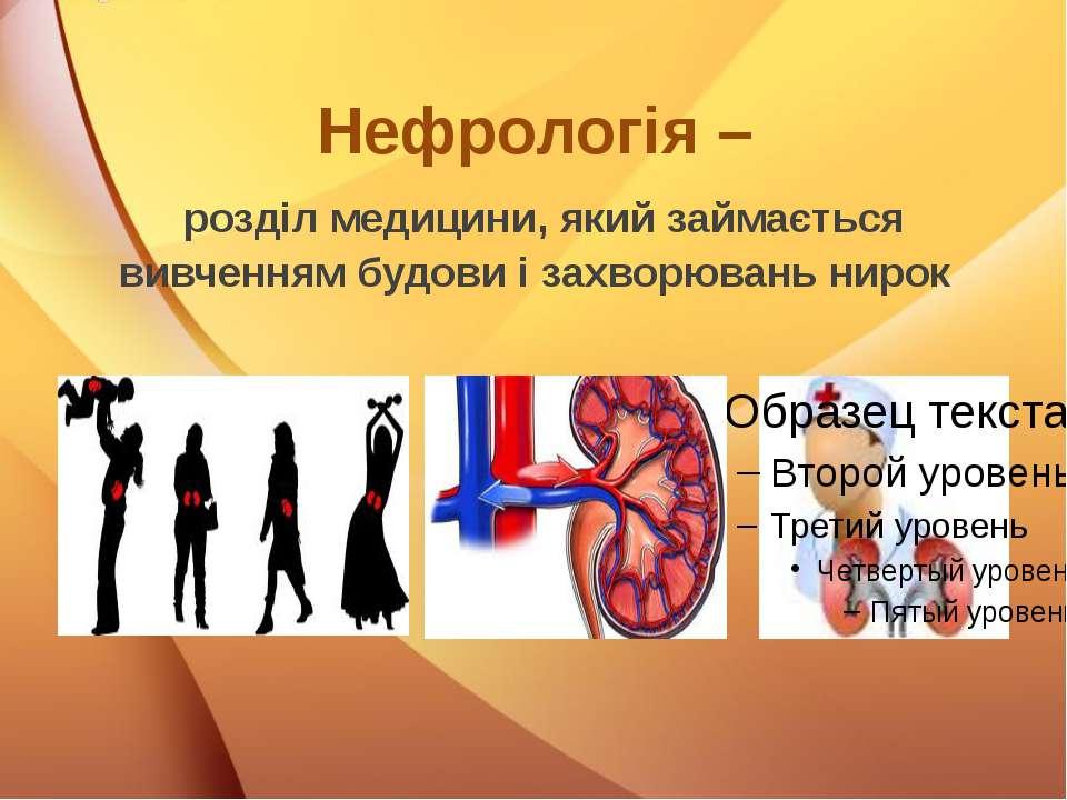 Нефрологія – розділ медицини, який займається вивченням будови і захворювань ...
