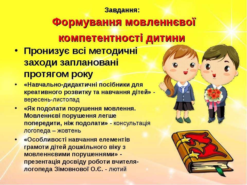 Завдання: Формування мовленнєвої компетентності дитини Пронизує всі методичні...