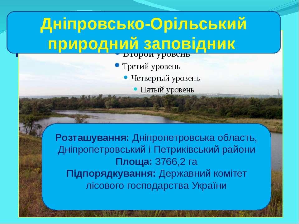 Дніпровсько-Орільський природний заповідник Розташування: Дніпропетровська об...