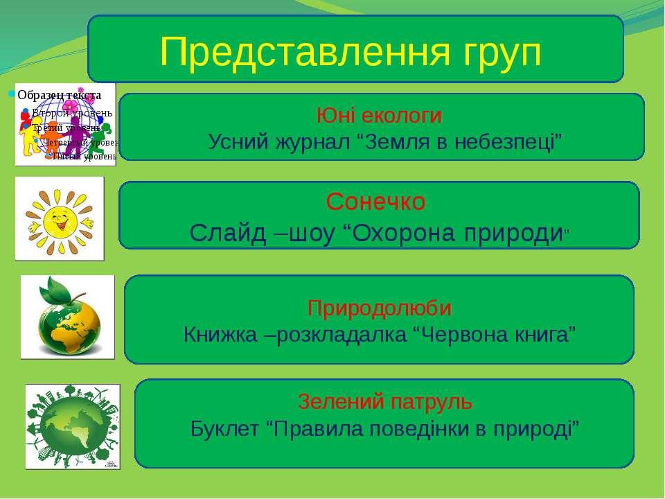 """Представлення груп Юні екологи Усний журнал """"Земля в небезпеці"""" Сонечко Слайд..."""