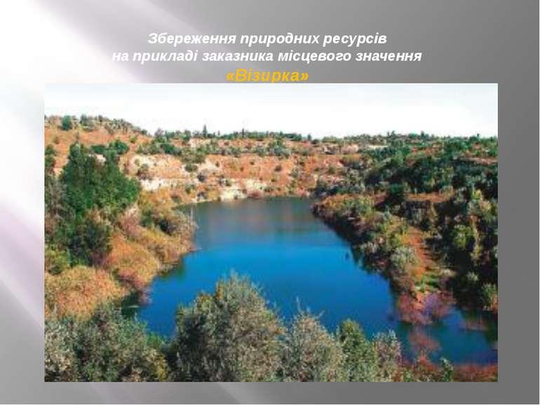Збереження природних ресурсів на прикладі заказника місцевого значення «Візир...