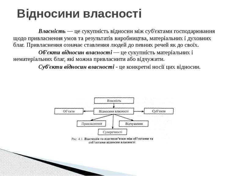 Власність — це сукупність відносин між суб'єктами господарювання щодо привлас...