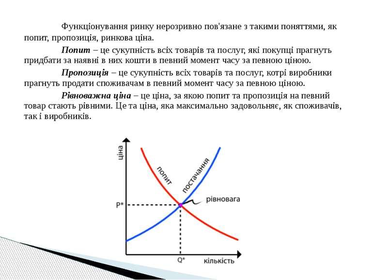 Функціонування ринку нерозривно пов'язане з такими поняттями, як попит, пропо...
