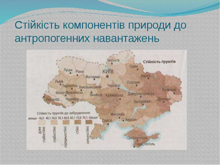 Стійкість компонентів природи до антропогенних навантажень За В.А. Барановськ...