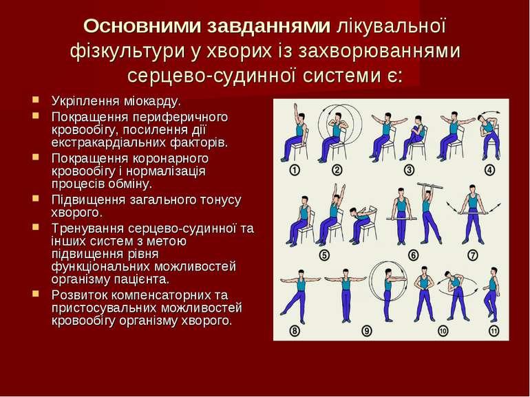 Основними завданнями лікувальної фізкультури у хворих із захворюваннями серце...