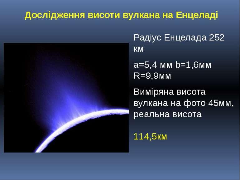 Радіус Енцелада 252 кмРадіус Енцелада 252 кма=5,4 мм b=1,6мм R=9,9ммВиміряна ...