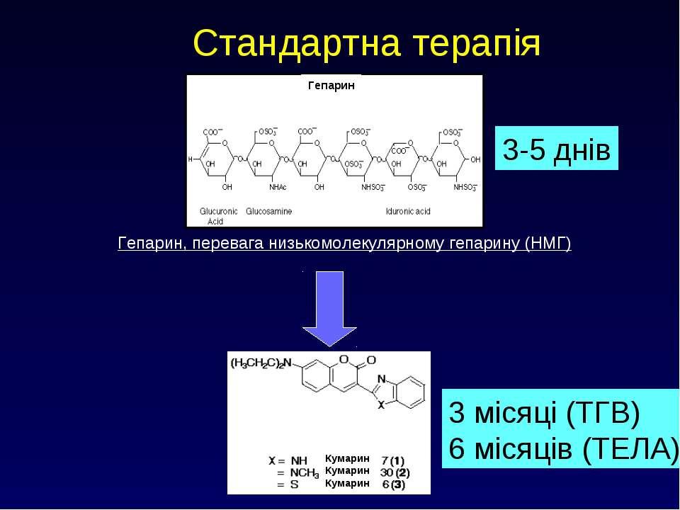Стандартна терапія Гепарин, перевага низькомолекулярному гепарину (НМГ) 3-5 д...