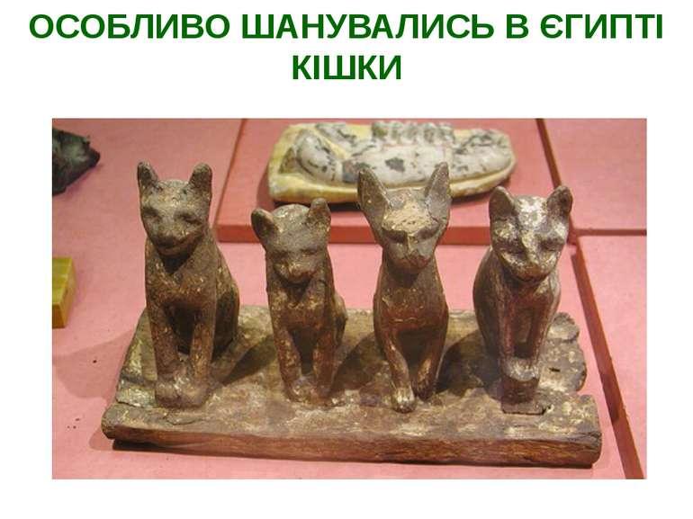 ОСОБЛИВО ШАНУВАЛИСЬ В ЄГИПТІ КІШКИ Священні кішки. Париж, Лувр. XXVI династія...