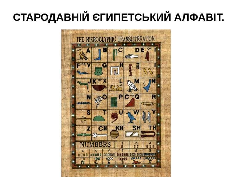 СТАРОДАВНІЙ ЄГИПЕТСЬКИЙ АЛФАВІТ.