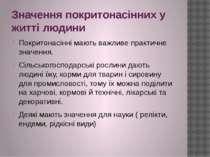 Значення покритонасінних у житті людини Покритонасінні мають важливе практичн...