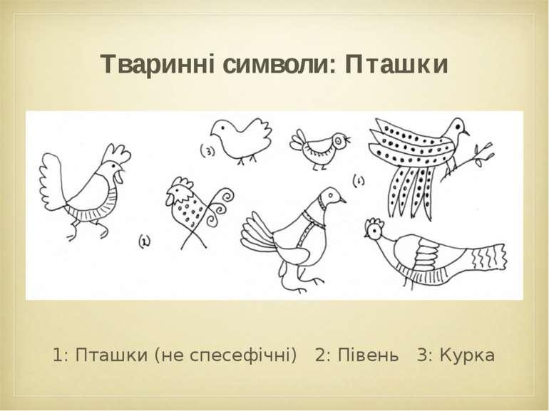 Тваринні символи: Пташки 1: Пташки (не спесефічні) 2: Півень 3: Курка
