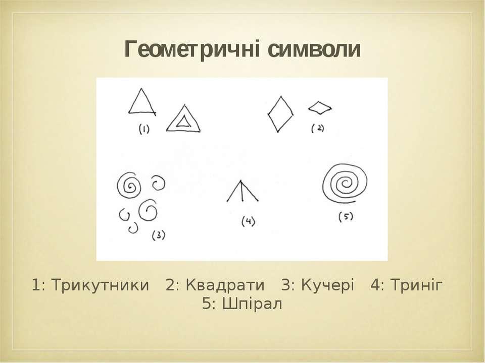 Геометричні символи 1: Трикутники 2: Квадрати 3: Кучері 4: Триніг 5: Шпірал