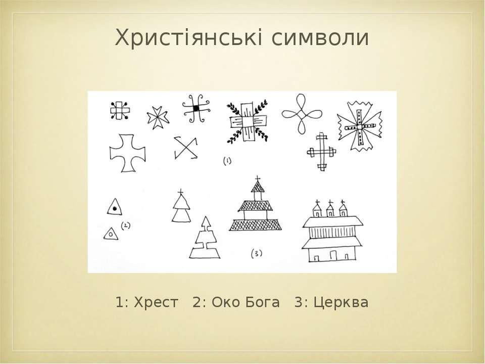 Христіянські символи 1: Хрест 2: Око Бога 3: Церква