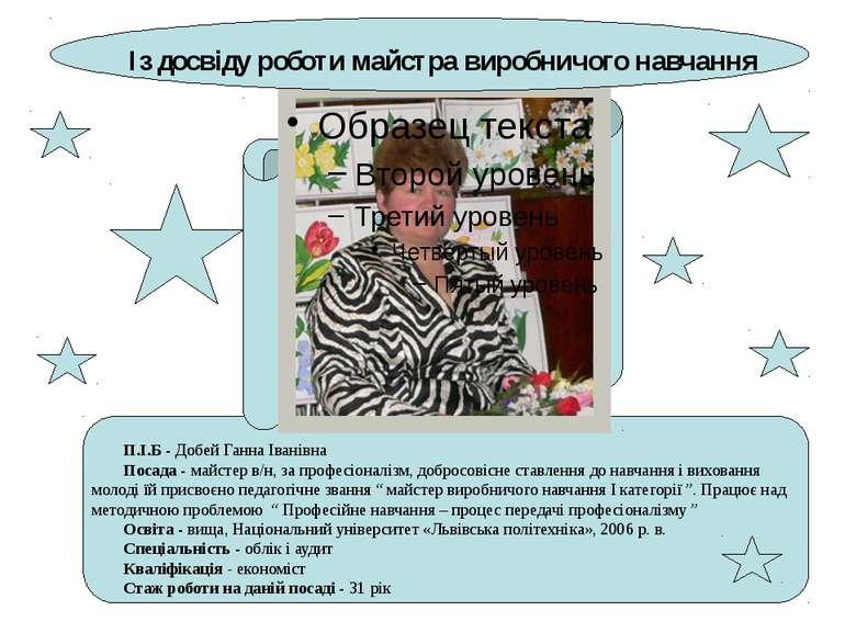 Із досвіду роботи майстра виробничого навчання П.І.Б - Добей Ганна Іванівна П...