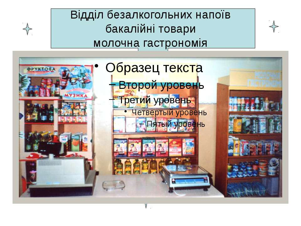 Відділ безалкогольних напоїв бакалійні товари молочна гастрономія