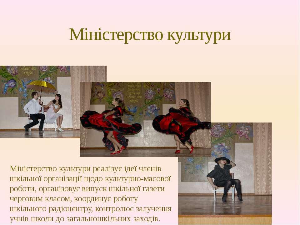Міністерство культури Міністерство культури реалізує ідеї членів шкільної орг...
