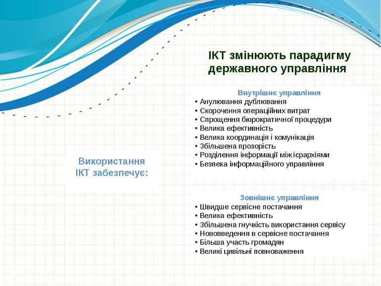 ІКТ змінюють парадигму державного управління Внутрішнє управління • Анулюванн...