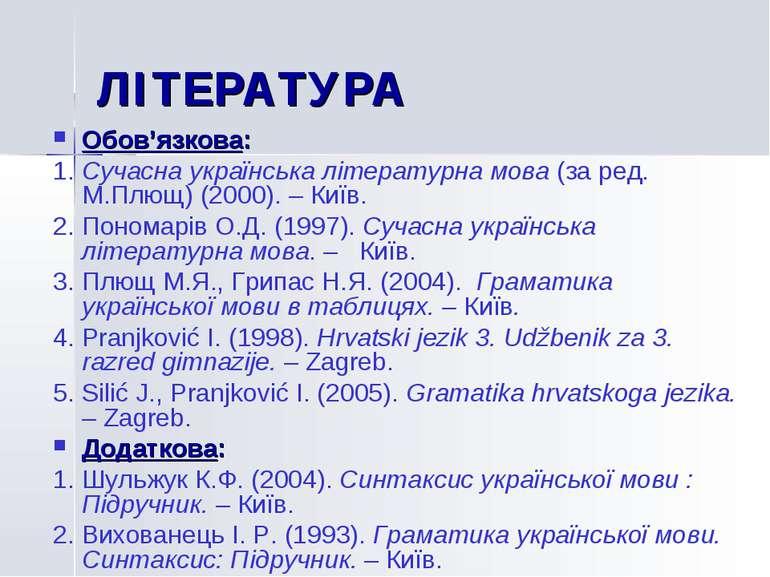 ЛIТЕРАТУРА Обов'язкова: 1. Сучасна українська літературна мова (за ред. М.Плю...