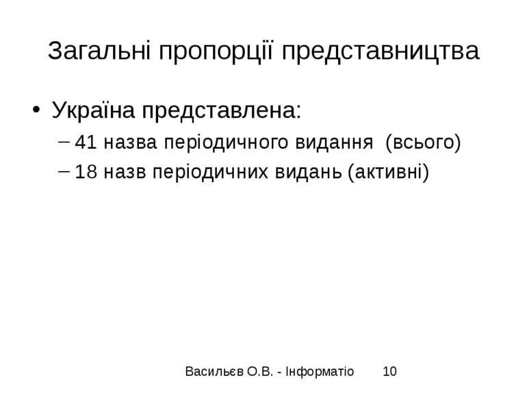 Загальні пропорції представництва Україна представлена: 41 назва періодичного...