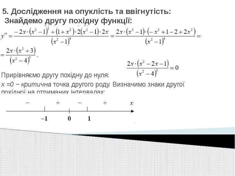 5. Дослідження на опуклість та ввігнутість: Знайдемо другу похідну функції: П...