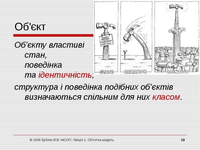 © 2006 Бублик В.В. МООП. Лекція 1. Об'єктна модель * Об'єкт Об'єкту властиві ...