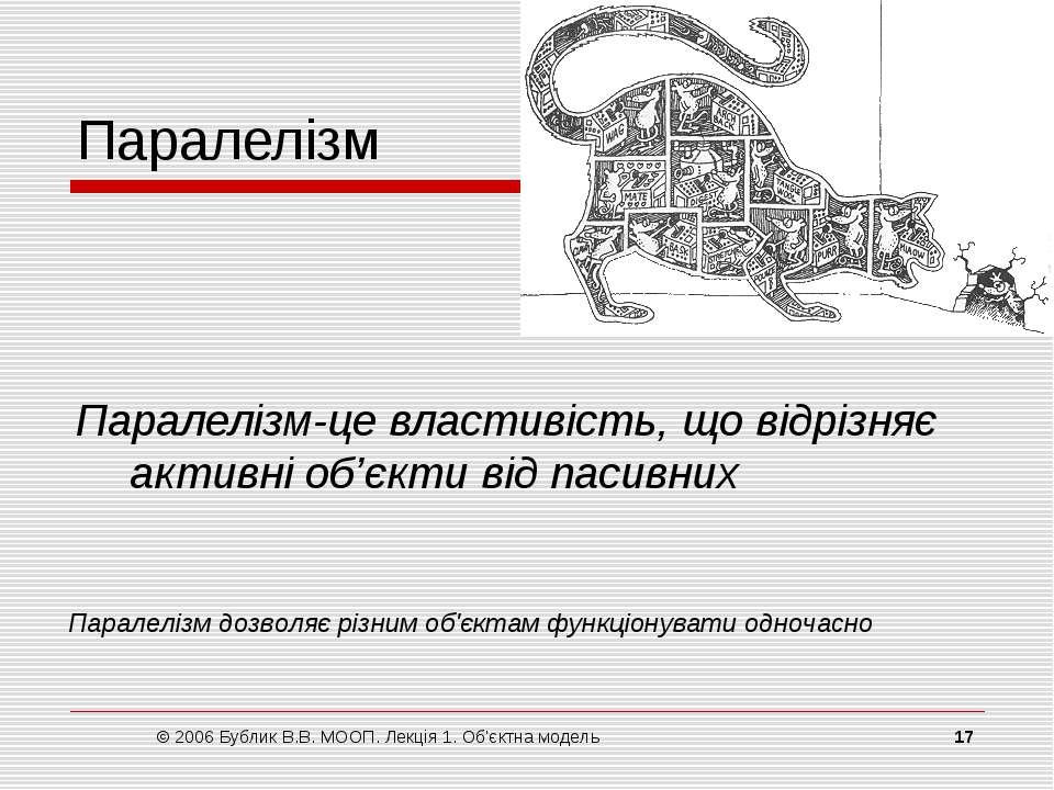 © 2006 Бублик В.В. МООП. Лекція 1. Об'єктна модель * Паралелізм Паралелізм‑це...