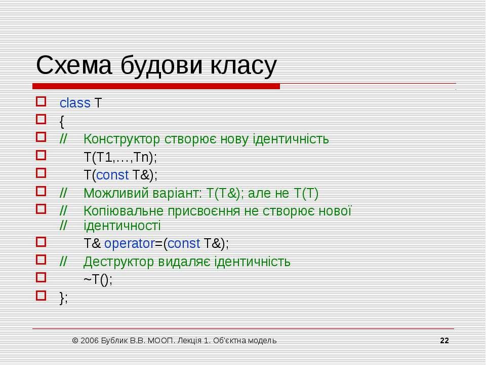 © 2006 Бублик В.В. МООП. Лекція 1. Об'єктна модель * Схема будови класу class...