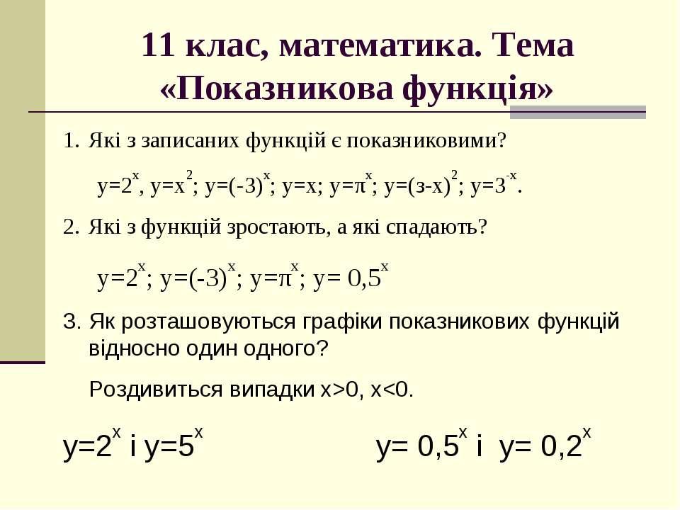 11 клас, математика. Тема «Показникова функція» Які з записаних функцій є пок...