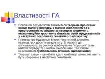 Властивості ГА Основним результатом вважається теорема про схеми: схеми малог...