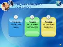 ПРЕДМЕТ ГЕНДЕРНОЇ ПОЛІТОЛОГІЇ 1 Гендер як система знань 3 Гендер як система п...