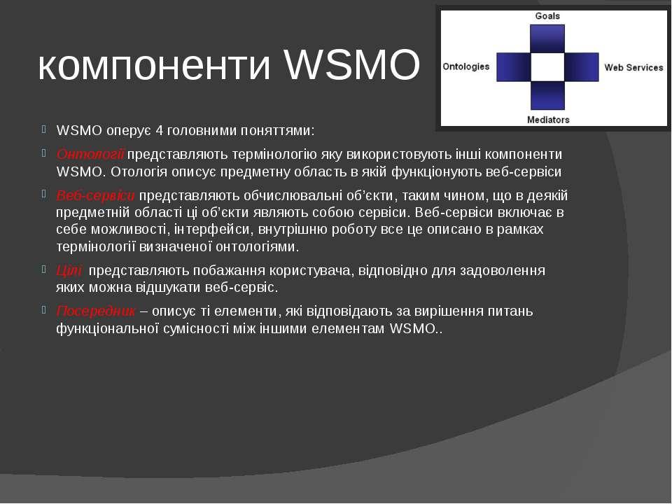 компоненти WSMO WSMO оперує 4 головними поняттями: Онтології представляють те...