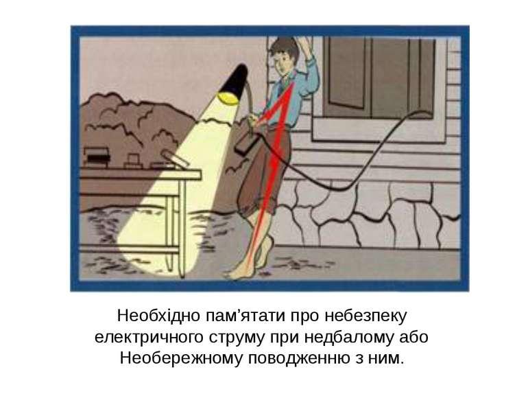 Необхідно пам'ятати про небезпеку електричного струму при недбалому або Необе...
