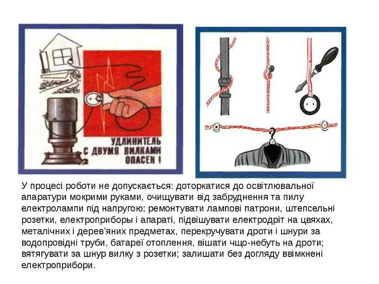У процесі роботи не допускається: доторкатися до освітлювальної апаратури мок...