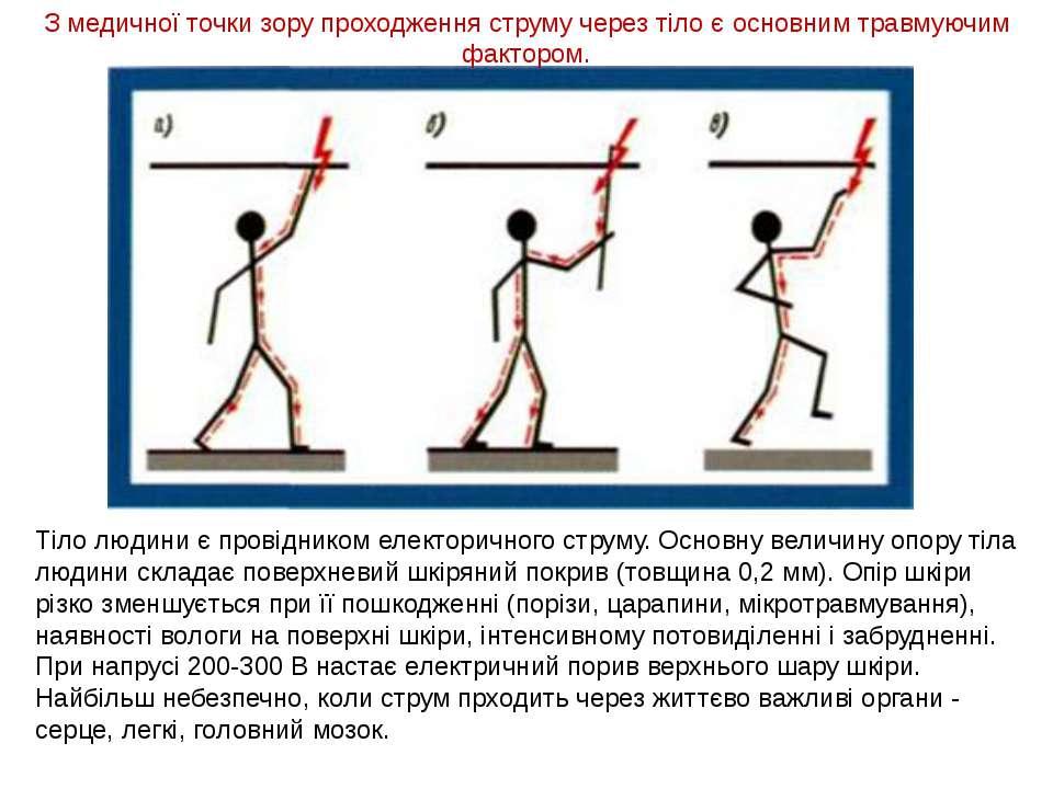 Тіло людини є провідником електоричного струму. Основну величину опору тіла л...