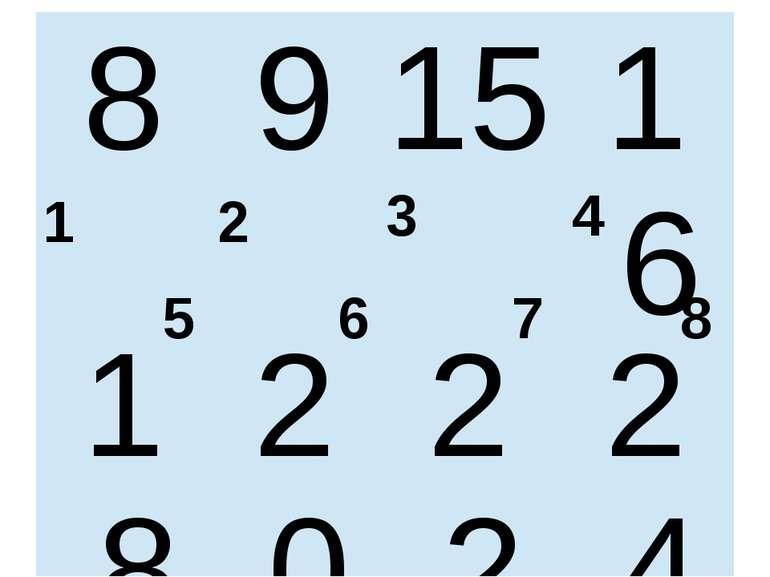 1 2 3 4 6 5 7 8 8 9 15 16 18 20 22 24