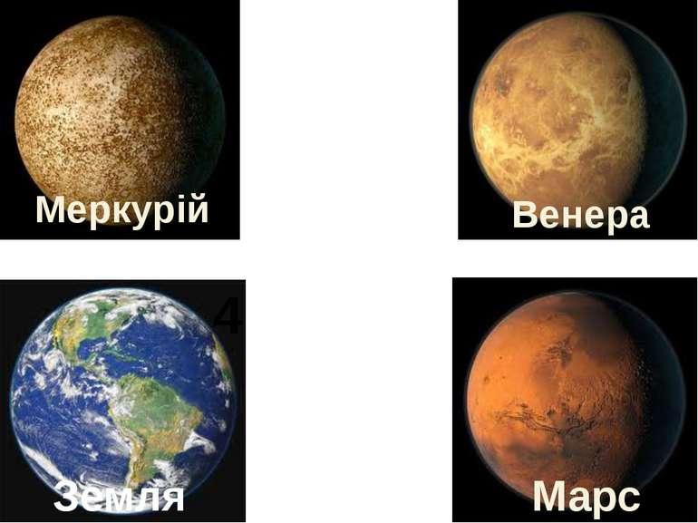 Венера Меркурій Марс Земля 1 2 3 4