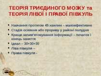 ТЕОРІЯ ТРИЄДИНОГО МОЗКУ та ТЕОРІЯ ЛІВОЇ І ПРАВОЇ ПІВКУЛЬ Навчання протягом 45...