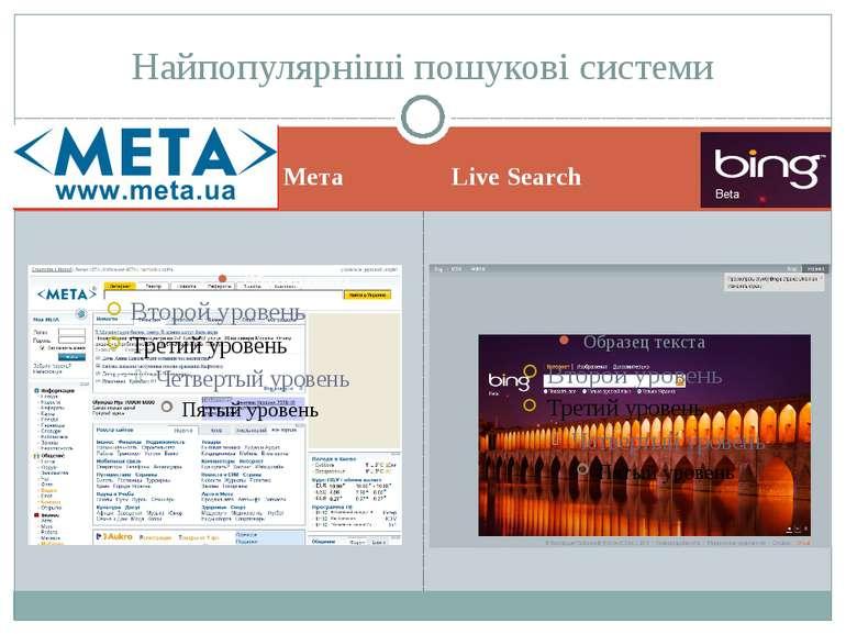 Мета Live Search Найпопулярніші пошукові системи